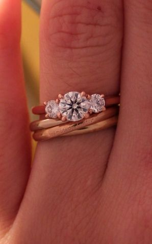 rose gold trellis threestone ring with Cartier Trinity Engagement