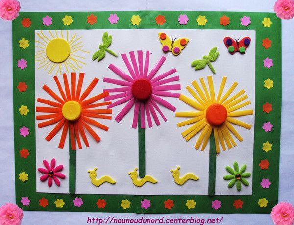 un joli tableau printanier r alis avec des petits suisse printemps fleurs activit s manuelles. Black Bedroom Furniture Sets. Home Design Ideas