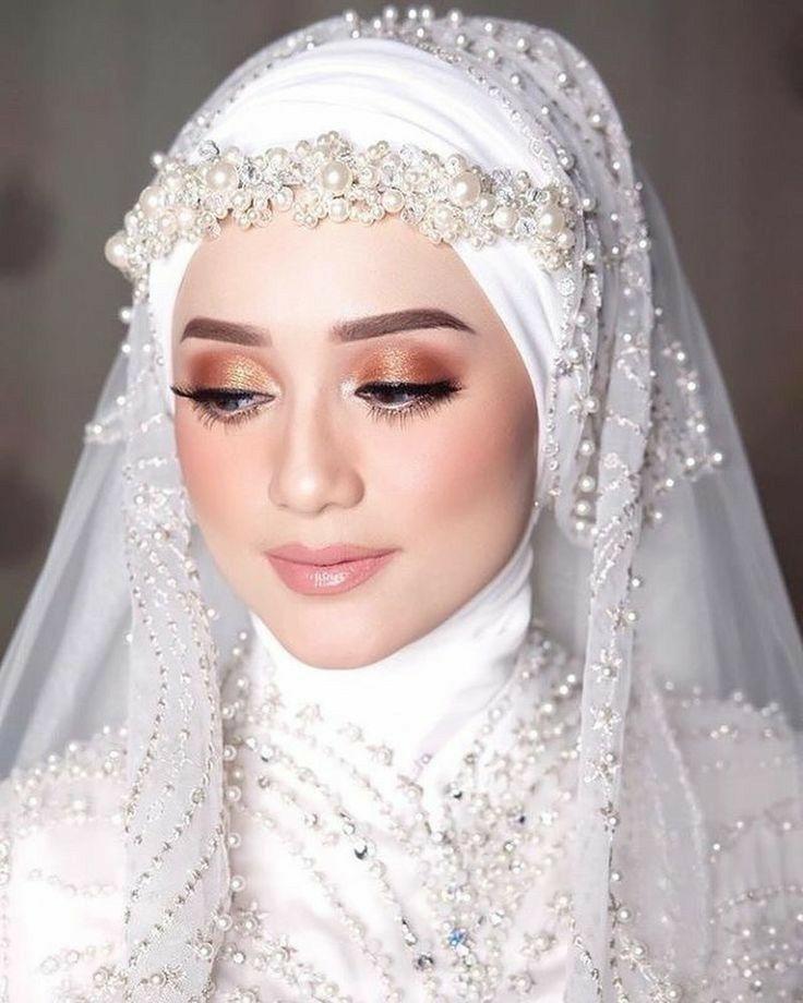 Stunning Pearl Headdress Di 2020 Pengantin Berhijab Pengantin Wanita Kerudung Pengantin