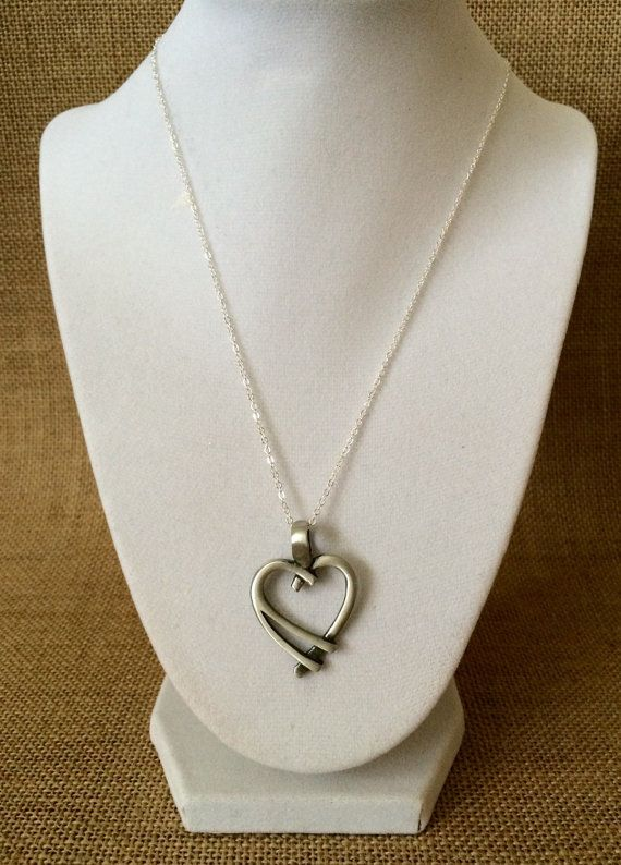 Silver Heart Pendant Necklace by TheJewelryBoxe on Etsy