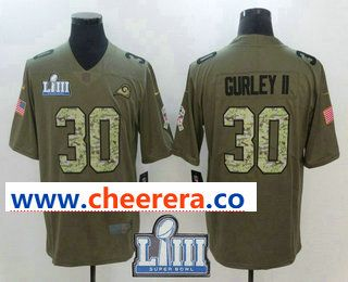 Men s Los Angeles Rams  30 Todd Gurley II Olive With Camo 2019 Super Bowl  LIII Patch Salute To Service Stitched NFL Nike Limited Jersey bb019e335