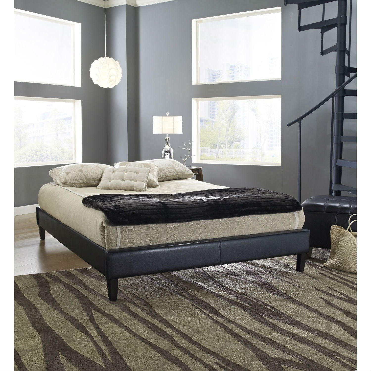 Twin Size Padded Platform Bed Frame With Black Faux Leather ...