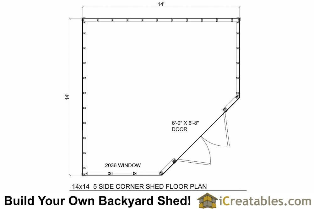 12x12 5 Sided Corner Storage Shed Floor Plans 12x12shedplan Shed Plans Corner Sheds Shed Floor Plans