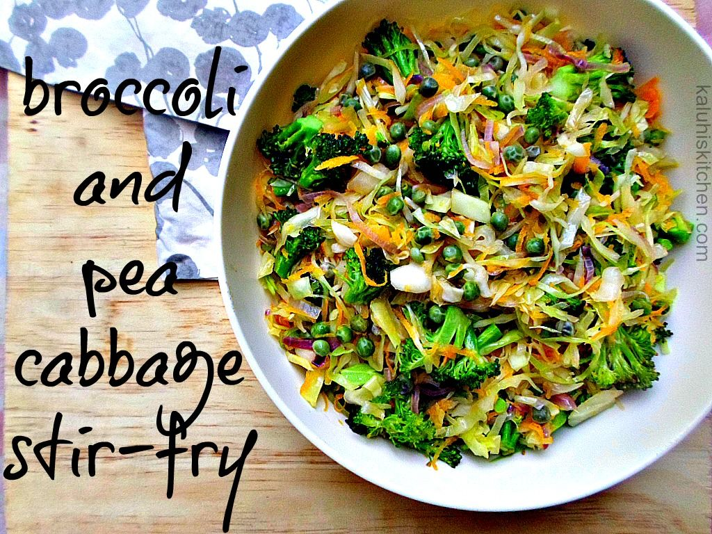 Broccoli and Pea Cabbage Stir Fry #cabbagestirfry