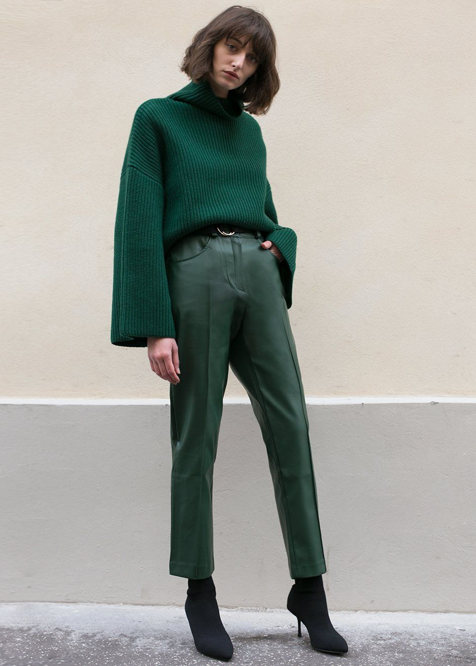 06ab0db71f0be Green Vegan Leather Pants – The Frankie Shop Fashion leather articles at 60  % wholesale discount prices #leather #leatherjacket #leatherfashion