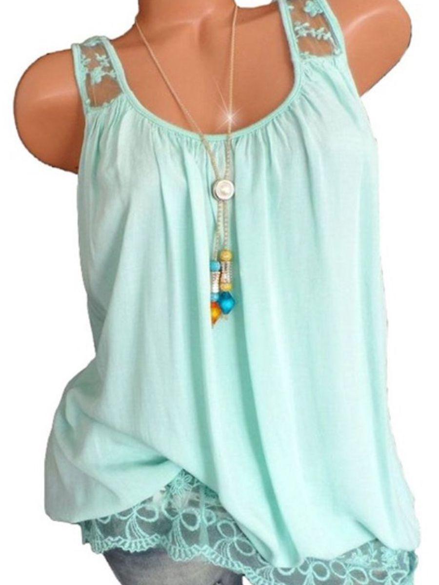 51075ccd9b6 Spring Summer Cotton Women Spaghetti Strap Decorative Lace Plain Sleeveless  T-Shirts