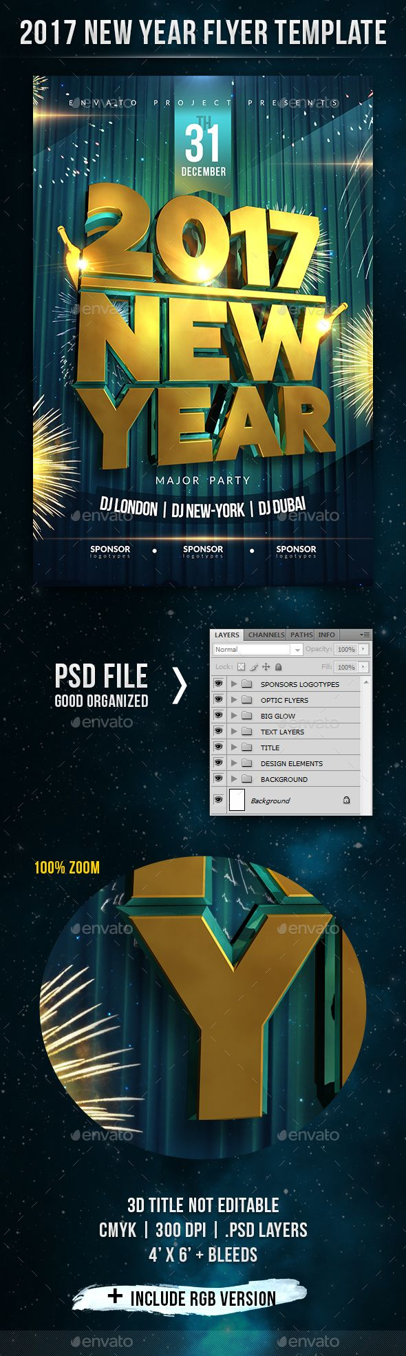 2017 New Year Flyer – New Year Poster Template
