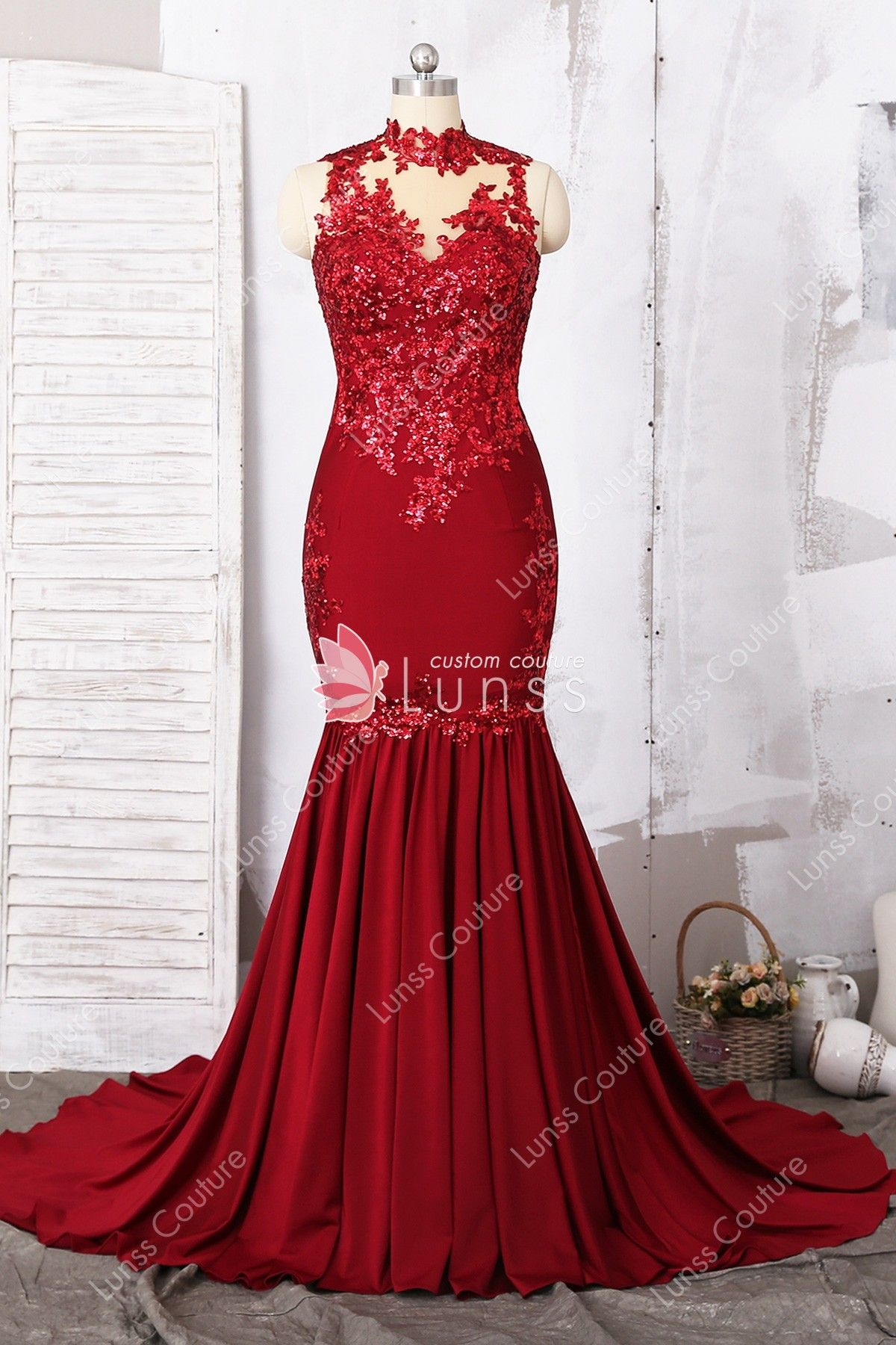 aa1a8802e97 Dark Red Sleeveless Illusion Neck Sequin Appliqued Customized Jersey  Mermaid Prom Dress