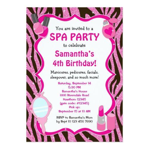 Spa party invitation spa birthday sleepover card birthday spa party invitation spa birthday sleepover card stopboris Images