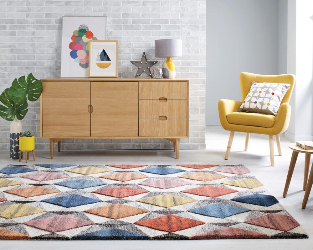 Tapis Effet 3d Pour Salon Graphique Multicolore Yara En 2020 Tapis Design Tapis Chic Tapis Multicolore