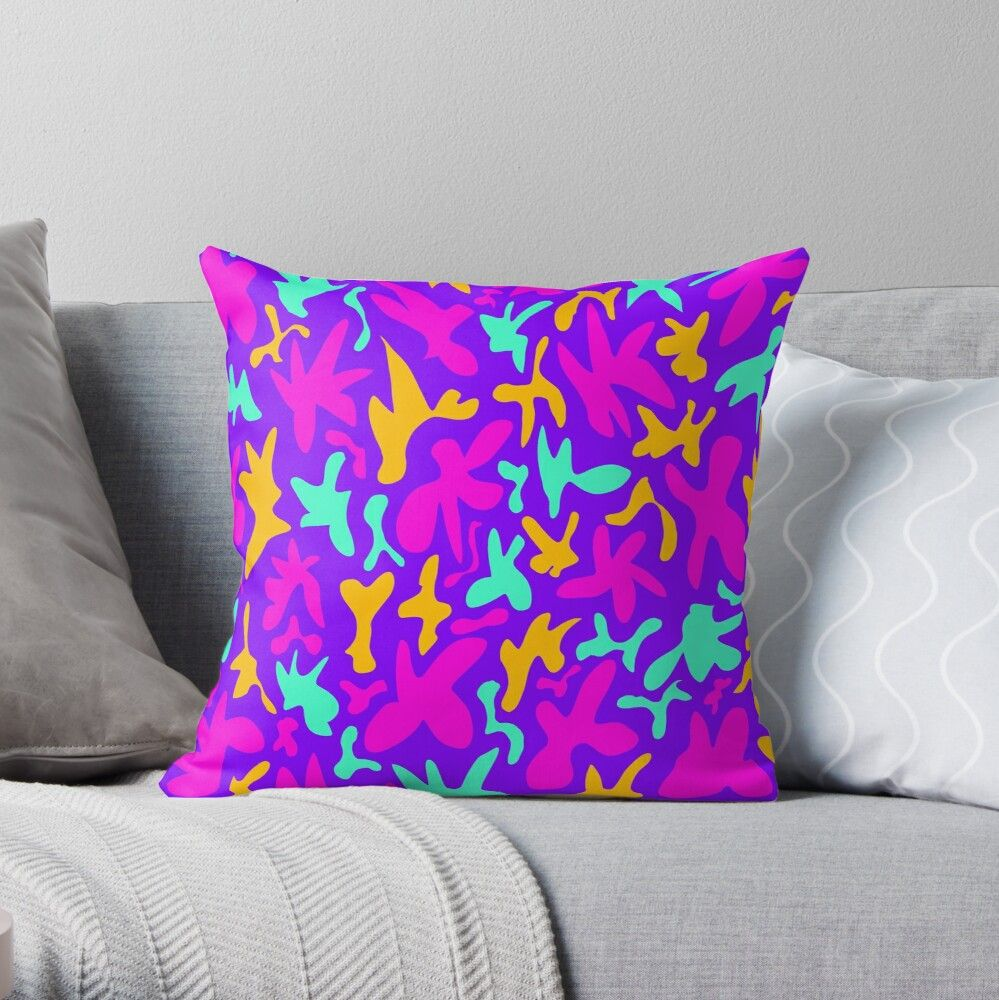 Abstract cute whimsical bright fanciful funny green, mustard yellow and pink shapes on purple background. Colorful stylish retro design. Throw Pillow