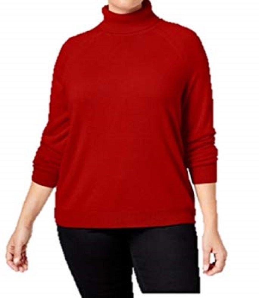 Karen scott womenus turtleneck top solidred longsleeve plus size