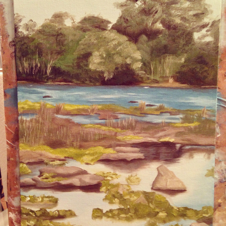 Oil painting of Zambezi River in Zambia