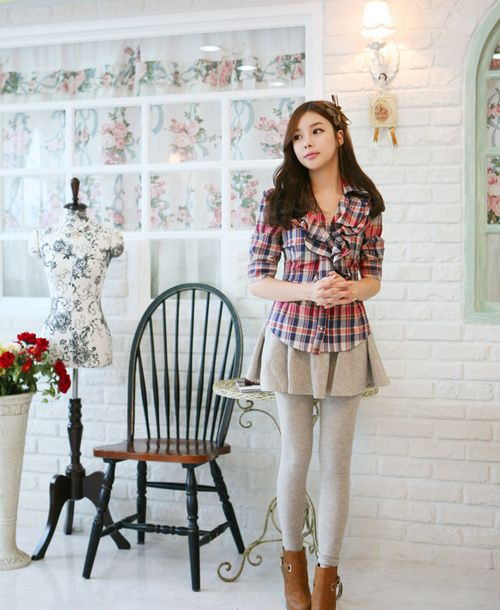Cute skirt and tights with plaid jacket cute outfit K Fashion (u2267u2207u2266)/ casual cute outfit ...