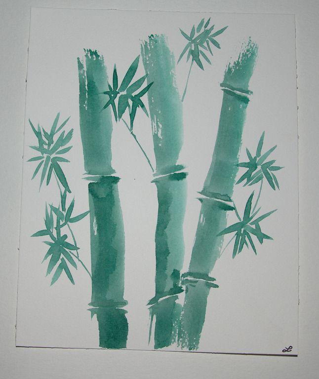 Dessin de bamboo l 39 encre de chine de couleur vert dessins par lela creation encre de chine - Dessin arbre chinois ...