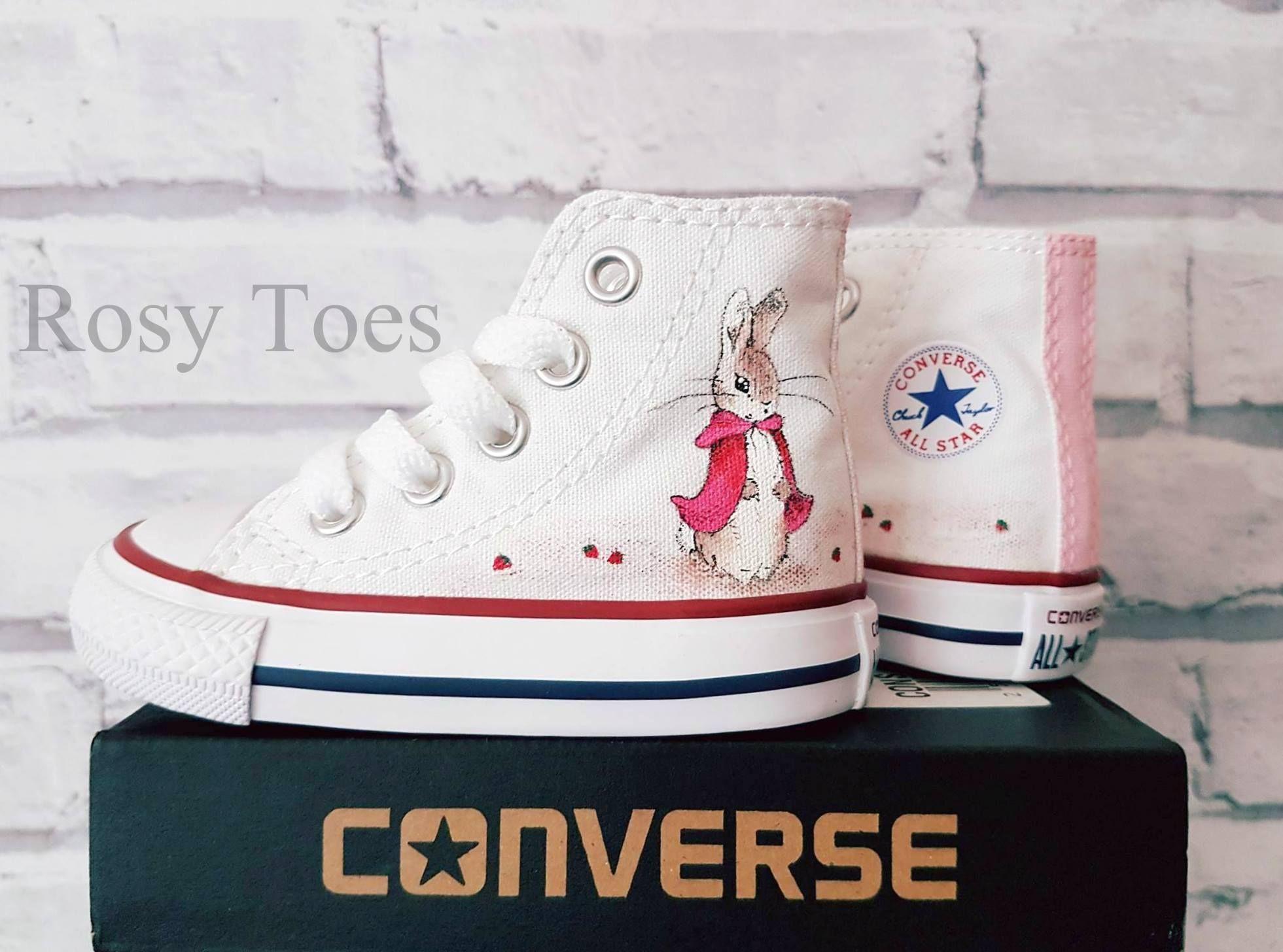 Beatrix Potter Handpainted Custom Flopsy Peter Rabbit Converse Shoes Canvas 003e7b0eb