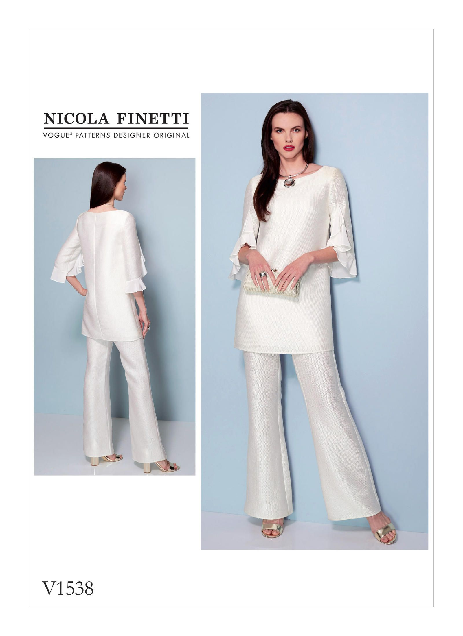 Vogue Patterns 1538 MISSES\' RUFFLE-SLEEVE TUNIC AND BOOTCUT JUMPSUIT ...