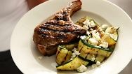 Spice Rubbed Pork with Grilled Zucchini-martha stewart