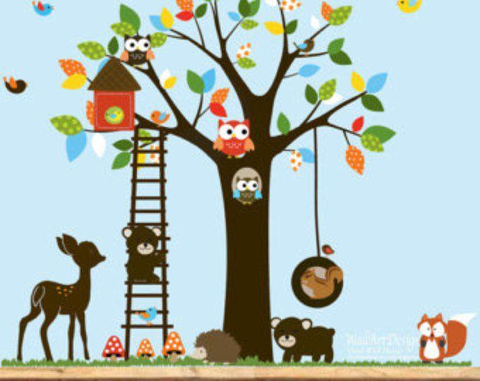 Loro stanza si trasformerà in un luogo davvero divertente. Nursery Wall Decal Kids Wall Decal Sticker Vinyl Wall Decal Nursery Tree Decal Colorful Wall Decal Decalcomanie Pareti Cameretta Neonato Adesivi Per Pareti Decalcomanie