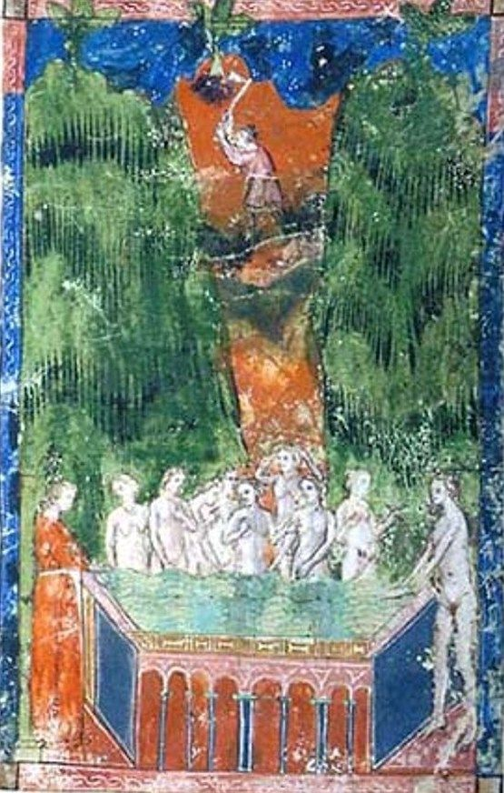 Bath of St. Anastasia - miniature manuscript of the fourteenth century the 'De Balneis Puteolanis', Morgan Library, New York.