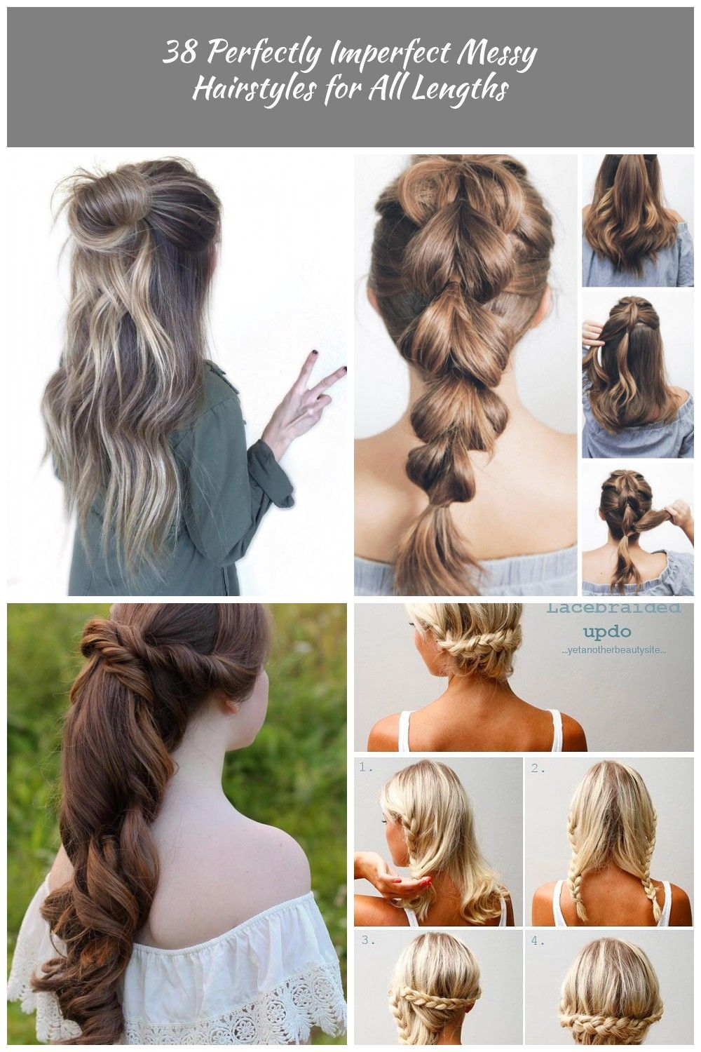 Bun Half Updo For Long Hair long hair 38 Perfectly Imperfect Messy  Hairstyles for All Lengths