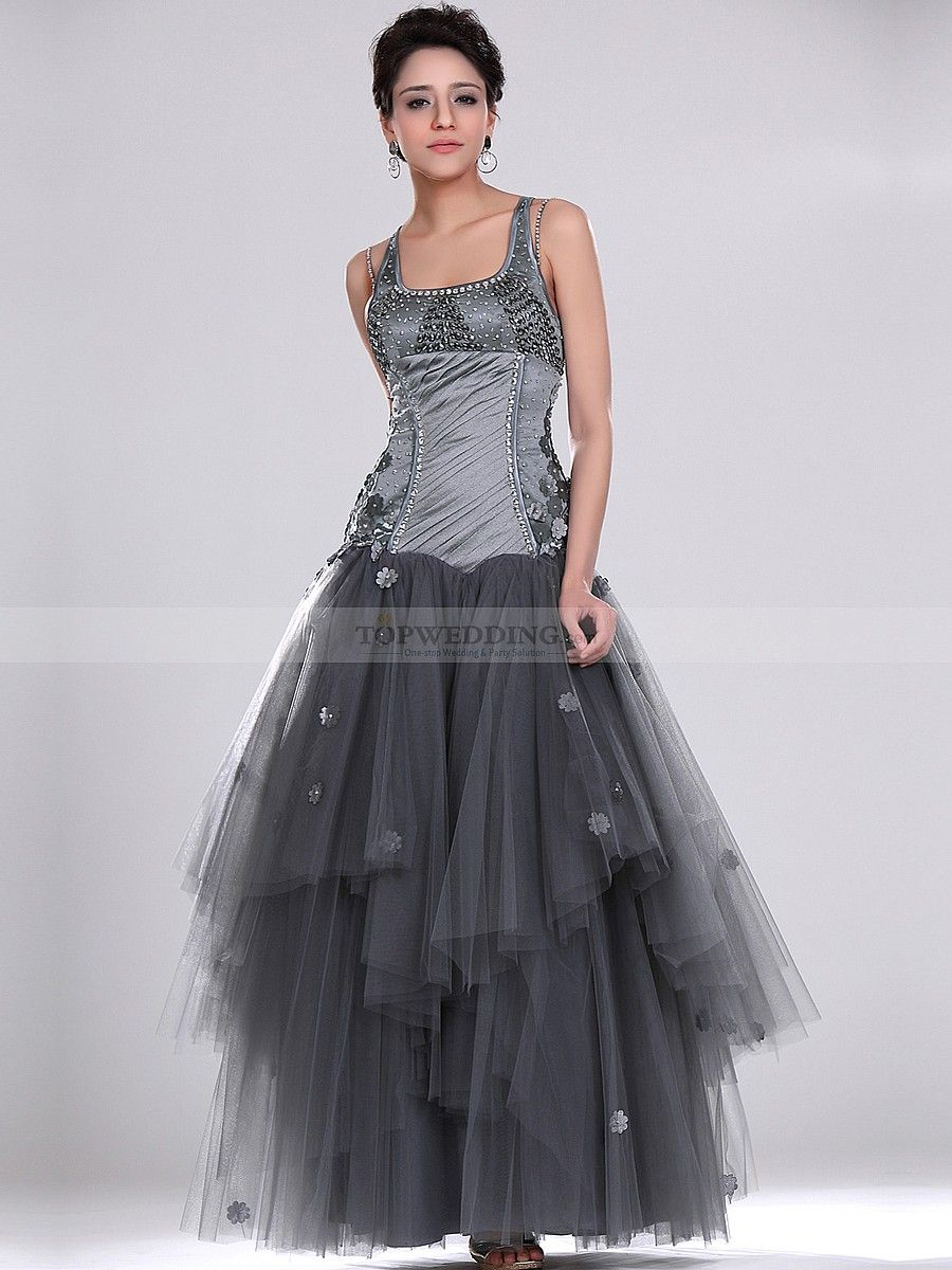 Wedding Tulle Dresses square neck elastic satin a line prom dress with tiered tulle dress