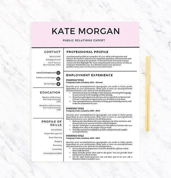 Creative Professional Resume Template For Word  Resume  Extras