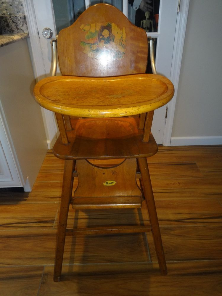 Antique Heavy Wood Thayer Baby/Toddler High Chair With Great Intact Decals - Antique Heavy Wood Thayer Baby/Toddler High Chair With Great