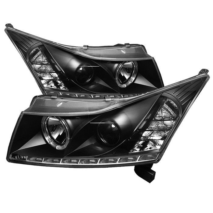 Spyder Chevy Cruze 11 14 Projector Headlights Led Halo Drl Black High H1 Included Low H7 Included Chevy Cruze Cruze Projector Headlights