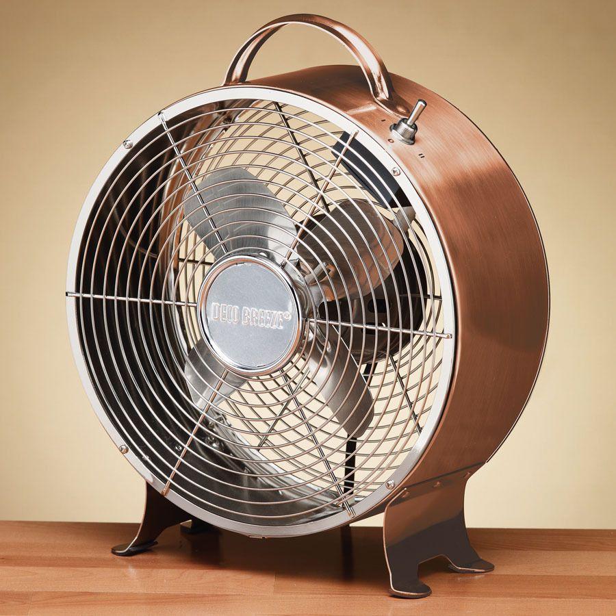 Deco Breeze Copper Retro Fan Table Top Decor Portable 2 Sds Whisper Quiet