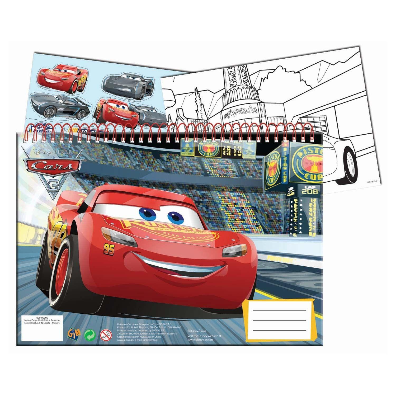 Maak De Mooiste Kunstwerken Van Je Favoriete Racehelden In Dit A4 Schetsboek Van Cars 3 Schets Er Op Los Op De Blanco Pa Schetsboek Lightning Mcqueen Stickers