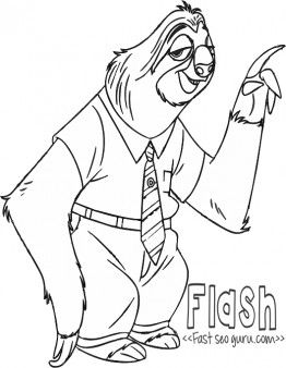 Printable Flash Zootopia Coloring Pages For Kidsfree Online Print Out Disney