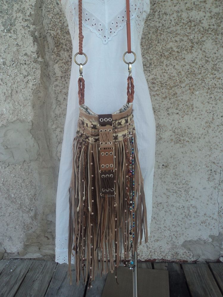 Handmade Tan Leather Suede Fringe Bag Hippie Boho Tribal Purse Cross Body tmyers #Handmade #MessengerCrossBody