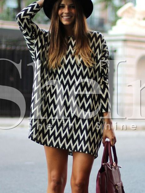 Black White Long Sleeve Geometric Print Dress 19.99