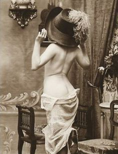 Old Vintage Picture, Antique Photo 5x7 art reprint, Girl in boudoir huge antique Hat, posing bare back. Description from pinterest.com. I searched for this on bing.com/images