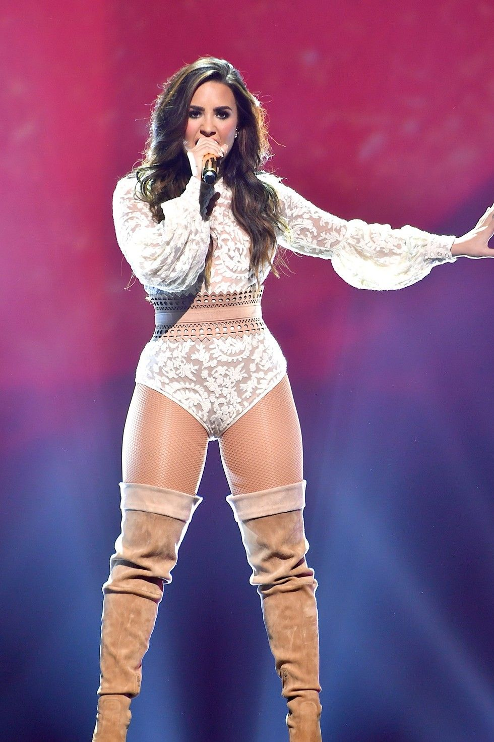 Demi Lovato Takes The Stage In Nothing But A Lace Bodysuit