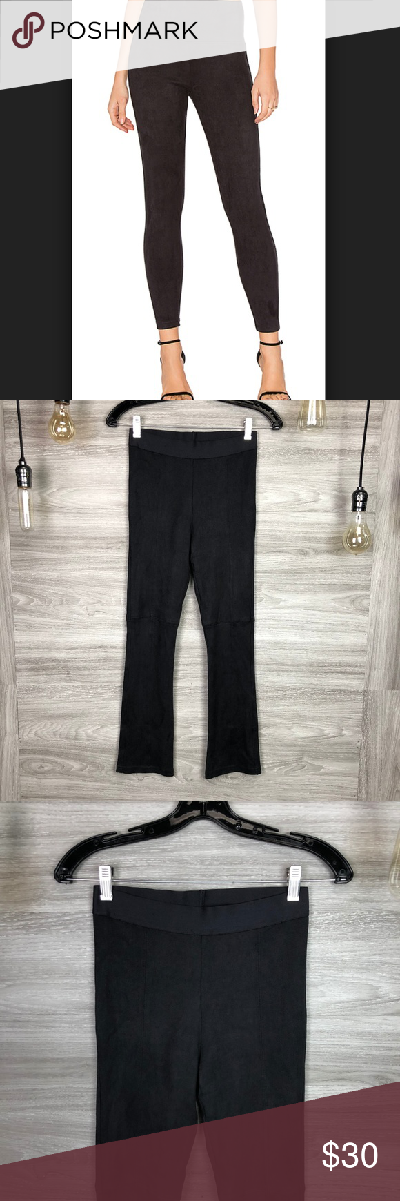 4add0fedba354 David Lerner Black Faux Suede Legging Size Small New with tags Measurements  (in inches and laid flat): Waist: 12 1/2 Rise: 9 3/4 Inseam: 26 Outseam: 35  Leg ...