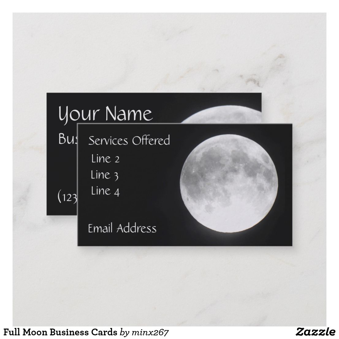 Full Moon Business Cards Zazzle Com Printing Double Sided Business Cards Cards