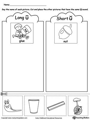 Short And Long Vowel U Picture Sorting Vowel Worksheets Long Vowel Worksheets Short Vowel Worksheets