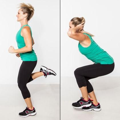 Alternate a minute of butt kicks with one minute of single-legged squats to build strength and stamina for tough runs.
