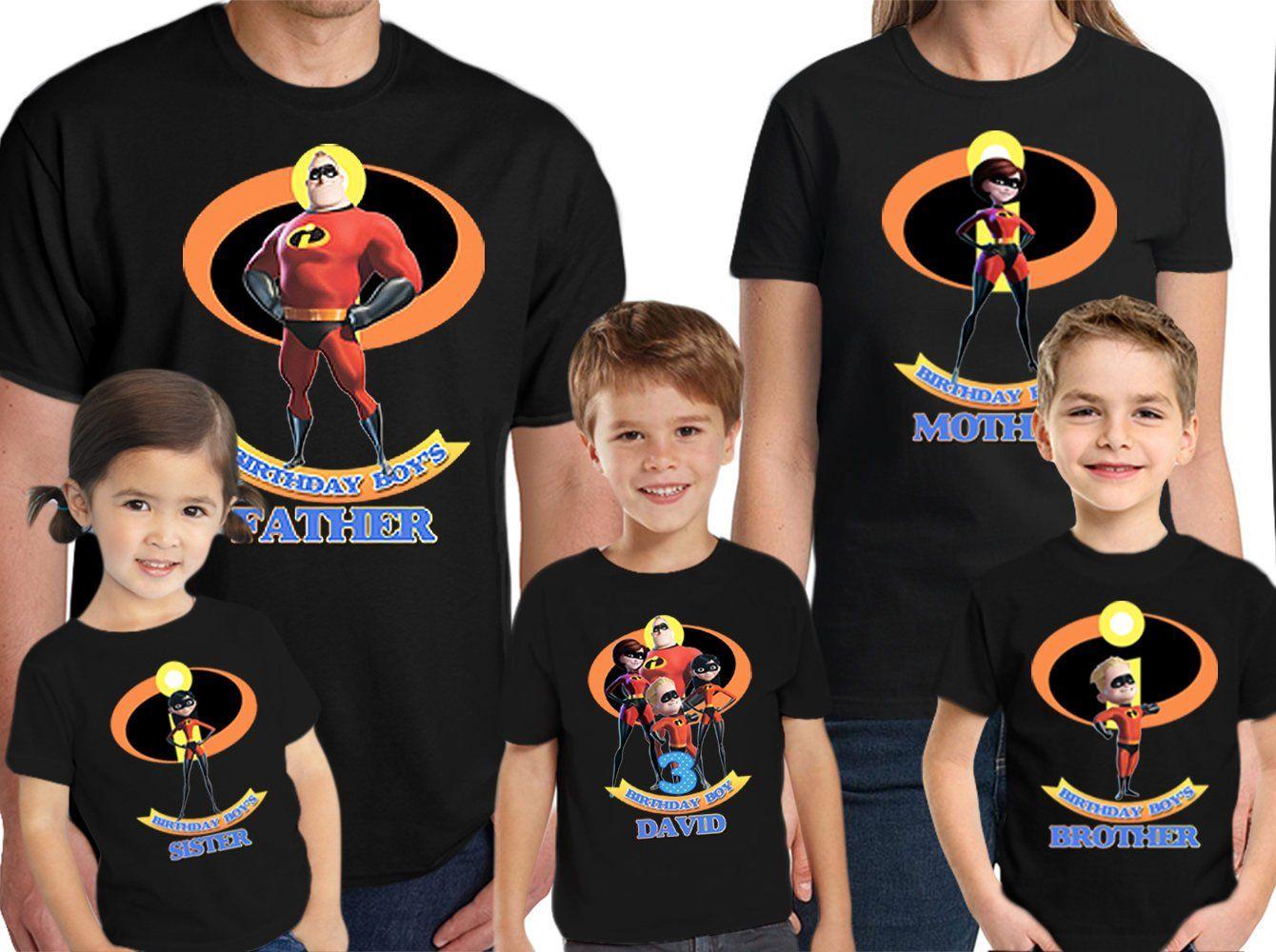 100% autentico buena reputación elige lo último La camisa de cumpleaños Incredibles nombre personalizado y ...