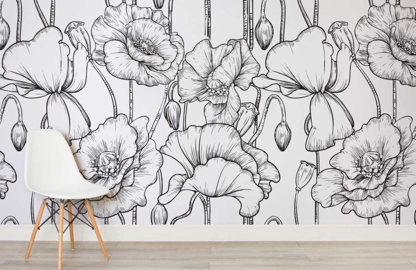 Black And White Flower Wallpaper Illustrated Flowers