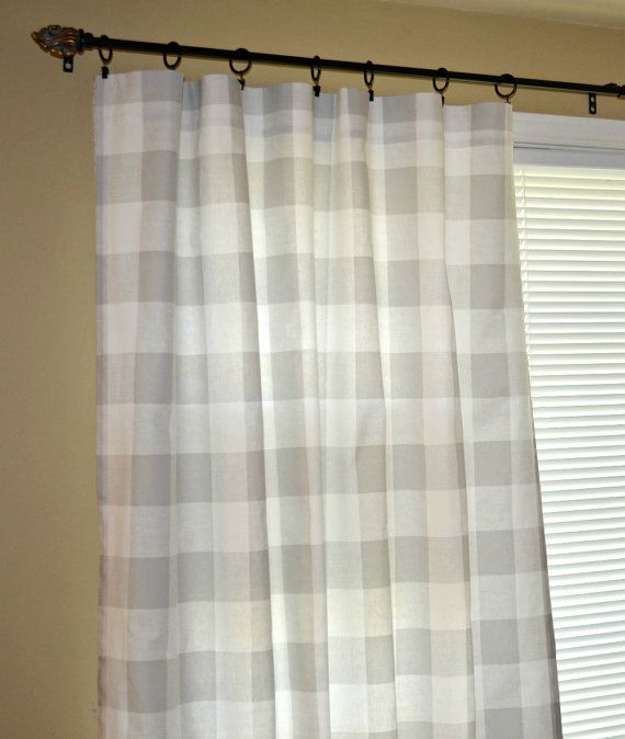 Pair Of Grey Buffalo Check Curtain Panels Drapes Anderson French Gray And White Large Gingh Buffalo Check Curtains Rod Pocket Curtain Panels Panel Curtains