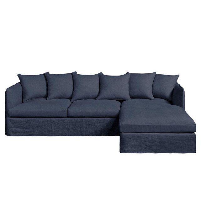 Canapé d angle fixe Neo Chiquito lin froissé