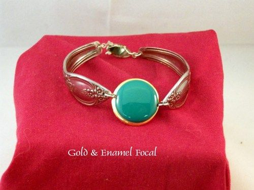 Stainless Steel Bracelet With Gold and Enamel Focal | BobsFashionJewelry - Jewelry on ArtFire
