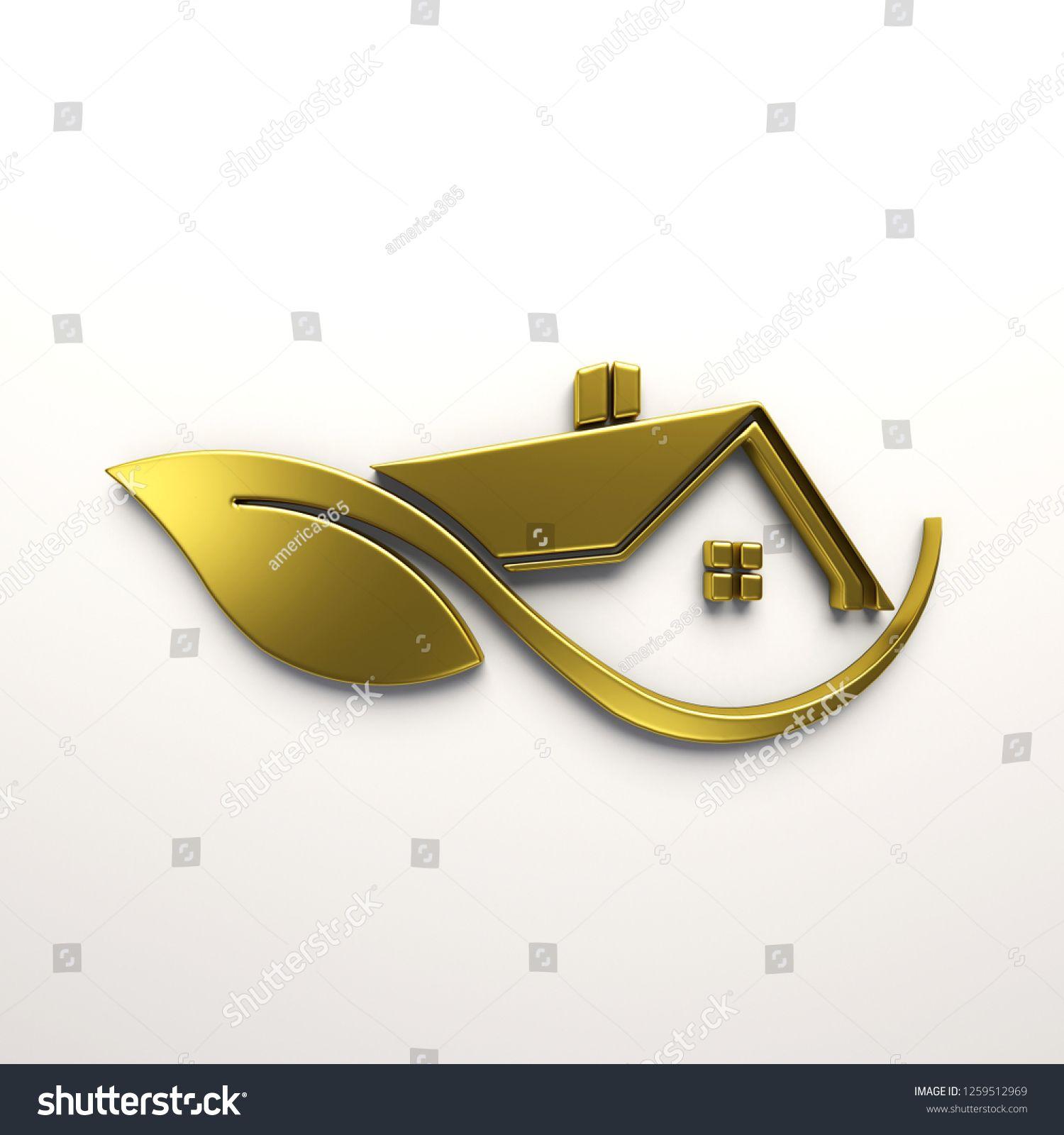 Home Design 3d Gold: Eco Friendly Gold House Logo 3d Stock Illustration