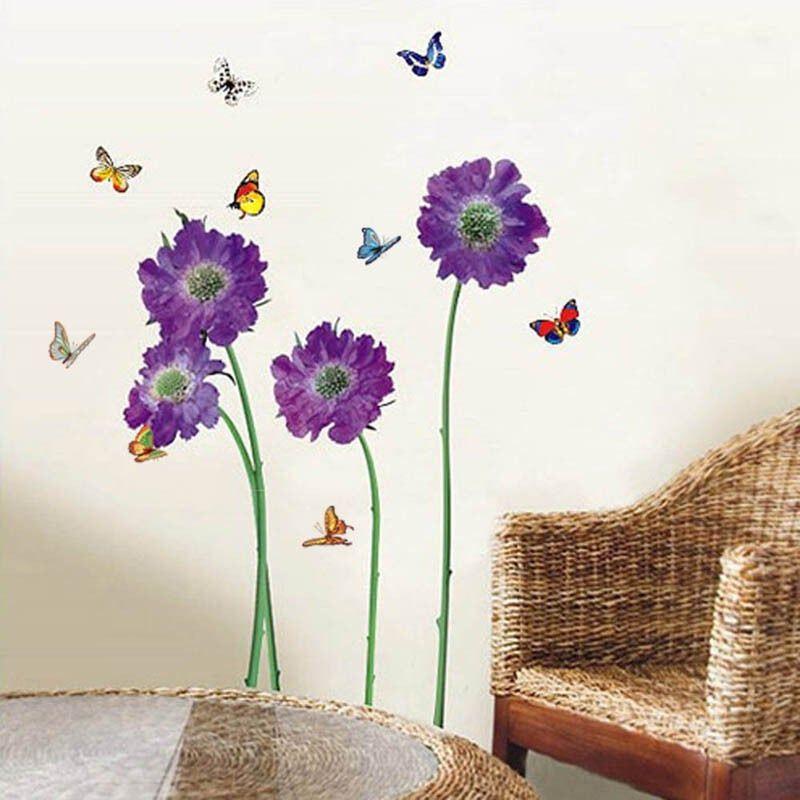 Dekoration Walplus Purple Flower Wall Sticker Wall Art Decals Room Home Decorations Mobel Wohnen Elin Pens Ac Id