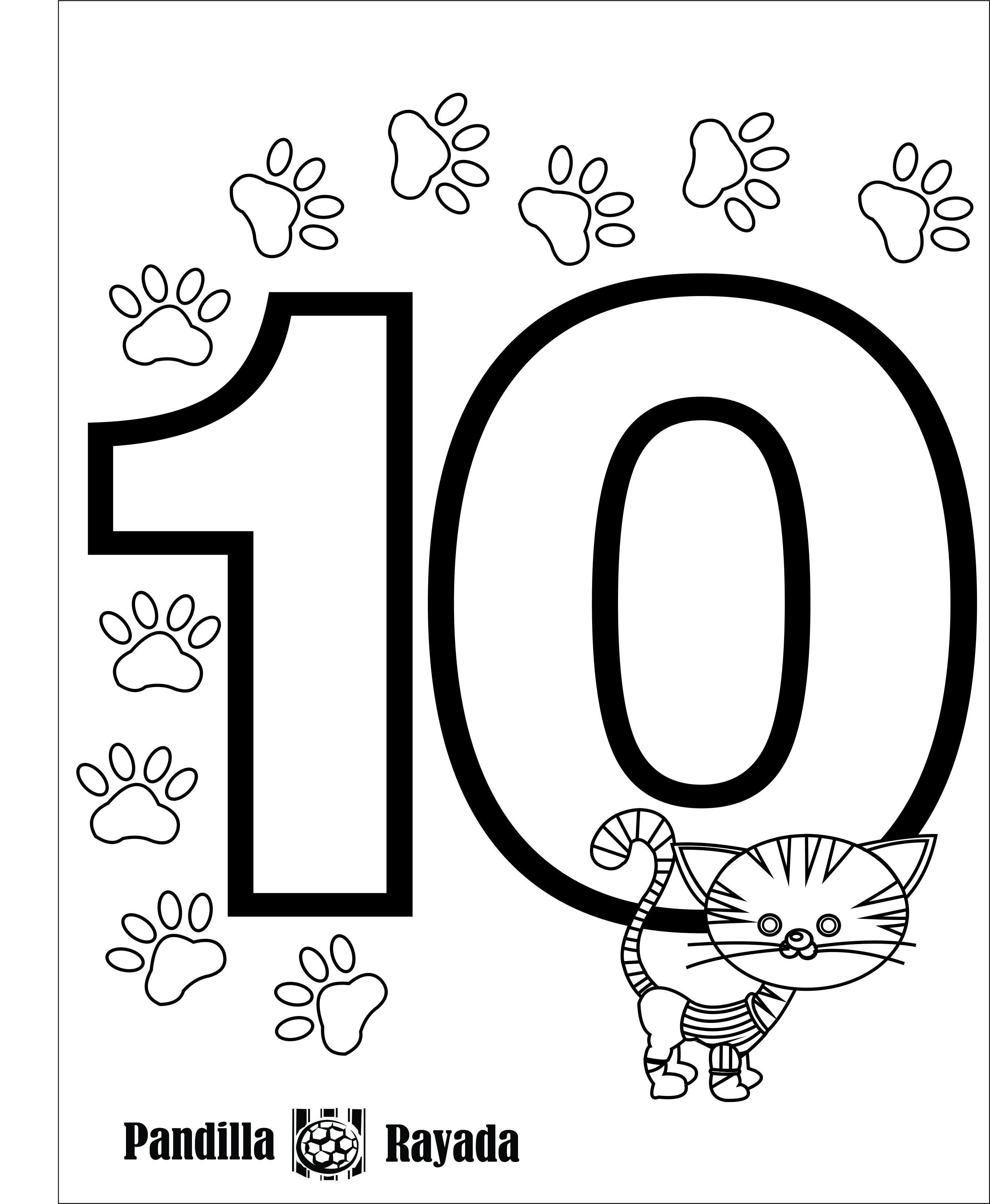 Número diez, 10. | El mundo de los números. Para niños, colorear ...
