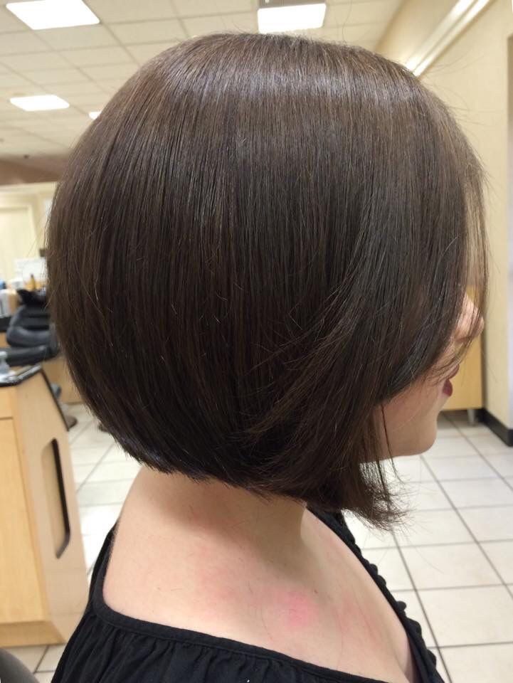 Short Haircut A Line Bob On Brunette Hair By Samantha Noel Hair