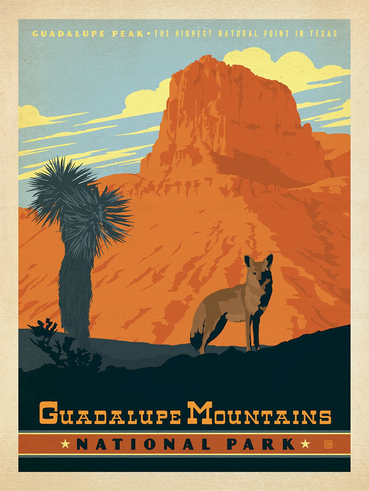 Anderson Design Group Studio Guadalupe Mountains National Park Texas Vintage Poster